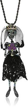 Betsey Johnson GBG) Betsey's Dark Magic Skeleton Bride Long Pendant Necklace