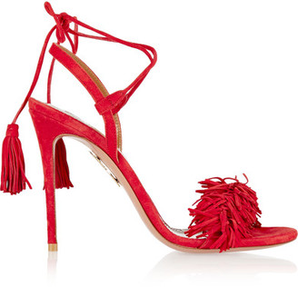 Aquazzura - Wild Thing Fringed Suede Sandals - Red $785 thestylecure.com