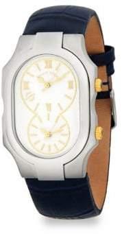 Philip Stein Teslar Signature Leather Strap Watch