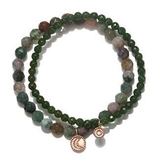 Satya Jewelry Women's Fancy Jasper & Jade Rose Gold Sun and Moon Stretch Bracelet Set