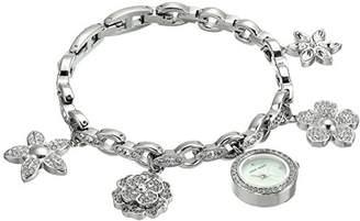 Anne Klein Women's AK/3077CHRM Swarovski Crystal Accented -Tone Charm Bracelet Watch