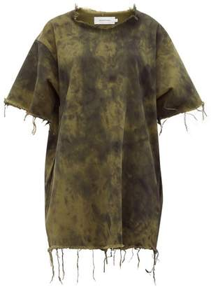 Marques Almeida Marques'almeida - Tie Dyed Denim Mini Dress - Womens - Khaki