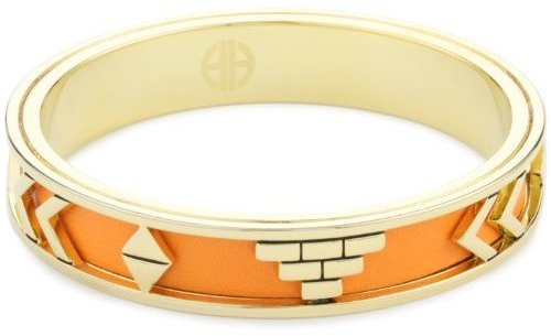 House of Harlow 1960 14kt Yellow-Gold-Plated Aztec Bangle with Orange Leather