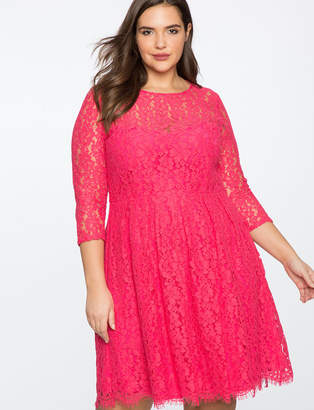 ELOQUII Lace Fit and Flare Dress with 3/4 Sleeves