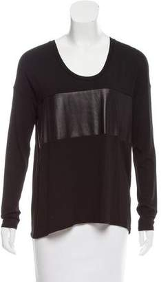 Mason Leather-Paneled Long Sleeve Top