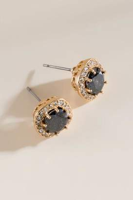 francesca's Angelina Cushion Stone Stud Earrings - Black