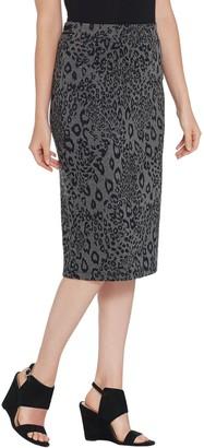 Du Jour Jacquard Pull-On Skirt with Striped Rib Knit Trim