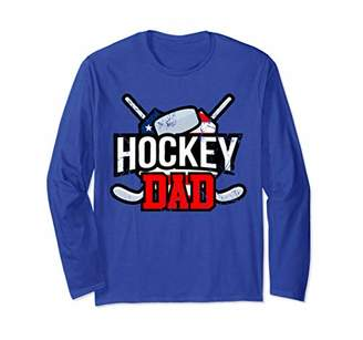Hockey Dad fathers day gift for men hockey son sticks puck Long Sleeve T-Shirt