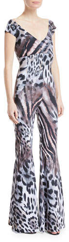Chiara Boni Thofa Animal-Print Flared Jumpsuit