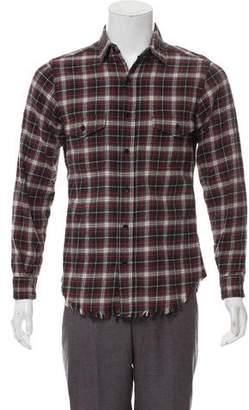 Saint Laurent 2016 Distressed Plaid Flannel Shirt