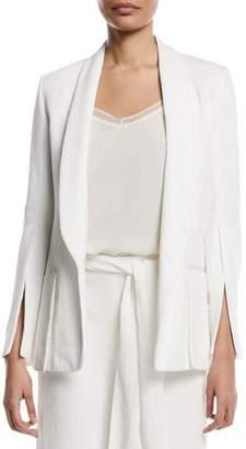 Halston Crinkle Crepe Slit-Sleeve Blazer