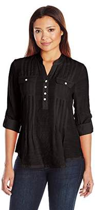 Ruby Rd. Women's Plus-Size Silky Gauze Pleated Top with Button-Front Stand Collar