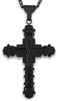 West Coast Jewelry Crucible Black Plated Stainless Steel Black Cubic Zirconia Cross Pendant