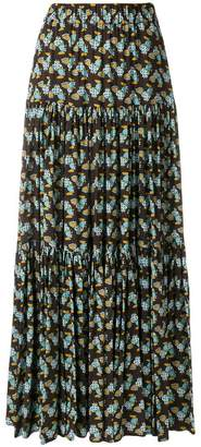 La Doublej fish print tiered skirt