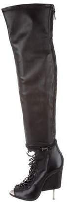 Givenchy Leather Over-The-Knee Boots Black Leather Over-The-Knee Boots