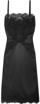 Dolce & Gabbana - Lace-paneled Silk-blend Satin Dress - Black $2,575 thestylecure.com