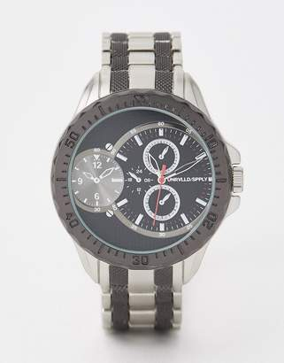 Asos Design DESIGN oversized bracelet watch in silver tone and gunmetal  with sub dials bf6440575fdf