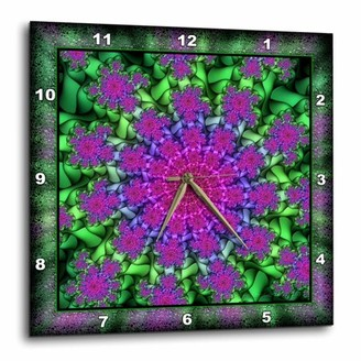 3dRose PSYCHEDELLIC SPIRAL purple lilac green spiral spiralling psychedellic hippie flowerpower NewAge, Wall Clock, 15 by 15-inch