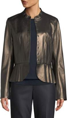 St. John Pearlized Napa Leather Jacket