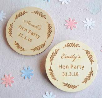 Sweet Pea Design Personalised Hen Party Wooden Badges