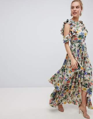 Asos Design DESIGN Floral Print Satin Ruffle Sleeve Maxi Dress With Dipped Hem
