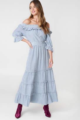 Debiflue X Na Kd Off Shoulder Ankle Dress Blue/White Stripe