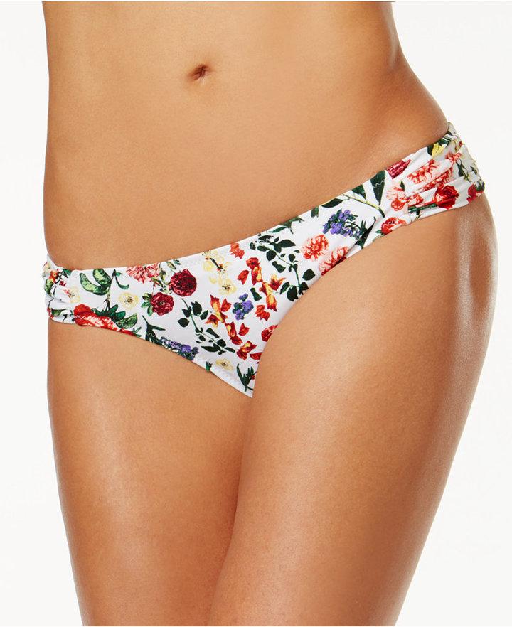 Jessica Simpson Garden Party Printed Side-Shirred Bikini Briefs