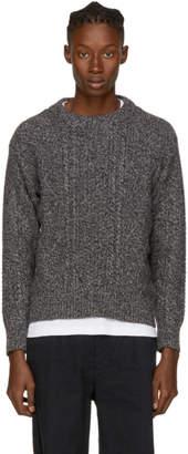 Noah NYC Grey Cashmere Donegal Crewneck Sweater