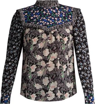 REBECCA TAYLOR Patchwork floral-print silk blouse $333 thestylecure.com