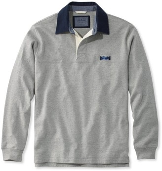 L.L. Bean L.L.Bean Men's Lakewashed Rugby, Traditional Fit Long-Sleeve Solid