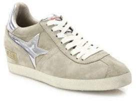 Ash Guepard Bis Suede & Metallic Leather Wedge Sneakers
