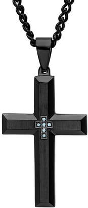 JCPenney FINE JEWELRY Mens Color-Enhanced Blue Diamond-Accent Black Ion-Plated Stainless Steel Cross Pendant Necklace