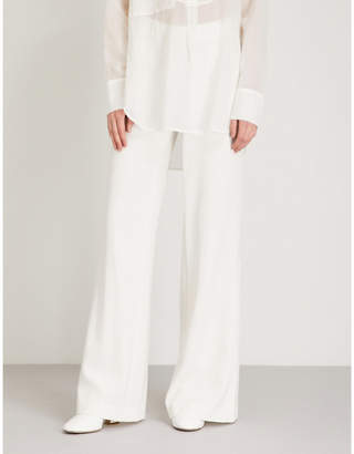 Theory Admir wide-leg mid-rise crepe trousers