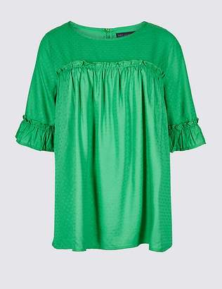 Marks and Spencer Printed Round Neck Half Sleeve Blouse