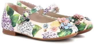 Dolce & Gabbana Crystal-embellished satin ballerinas