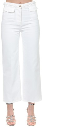 Valentino White Cotton Woven Belt Pants