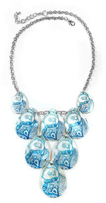 Carol Dauplaise STUDIO BY CAROL Studio By Blue Shell Silver-Tone Collar Necklace
