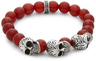 King Baby Studio Men's Beaded Skull Bracelet