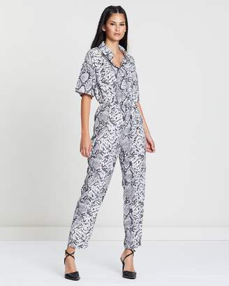 Missguided Snake Printed Shirt Jumpsuit