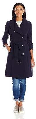 Calvin Klein Women's Plus Size Single Breasted Double Weave Wool Coat with Belt