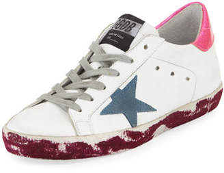 Golden Goose Superstar Paint-Leather Low-Top Platform Sneaker with Suede Star