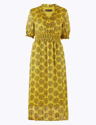 Marks and Spencer Leaf Print Shirred Waisted Dress