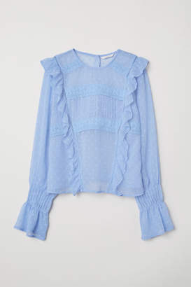 H&M Blouse with Flounce - Blue