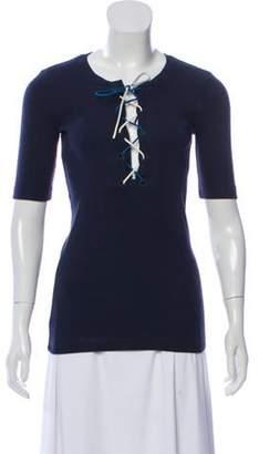Sonia Rykiel Lace-Up Knit Blouse Navy Lace-Up Knit Blouse
