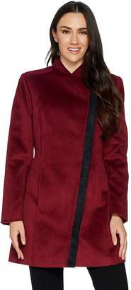 Halston H By H by Long Sleeve Coat with Faux Suede Detail