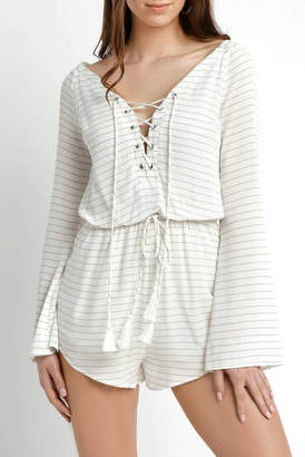 Juniper Blu Bell Sleeve Striped Lace Up Romper