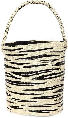Sensi Studio Zebra Print Straw Bucket Bag