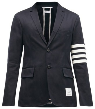 Thom Browne Striped Single Breasted Cotton Twill Blazer - Mens - Navy