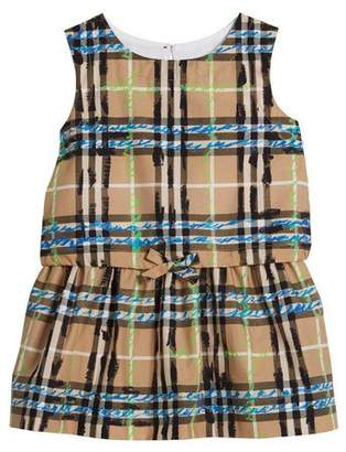 Burberry Maybel Drawstring Check Dress, Size 6M-3