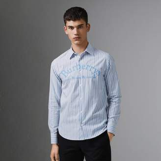 Burberry Embroidered Archive Logo Striped Cotton Shirt